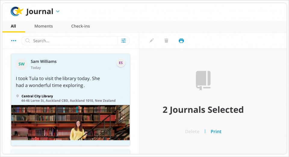 Select multiple entries directly from your journal feed to print them in a single report.