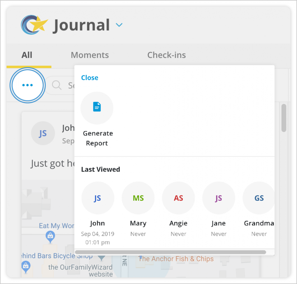 Click the three dots to the left of the search bar to view the 'generate report' option for journal entries.